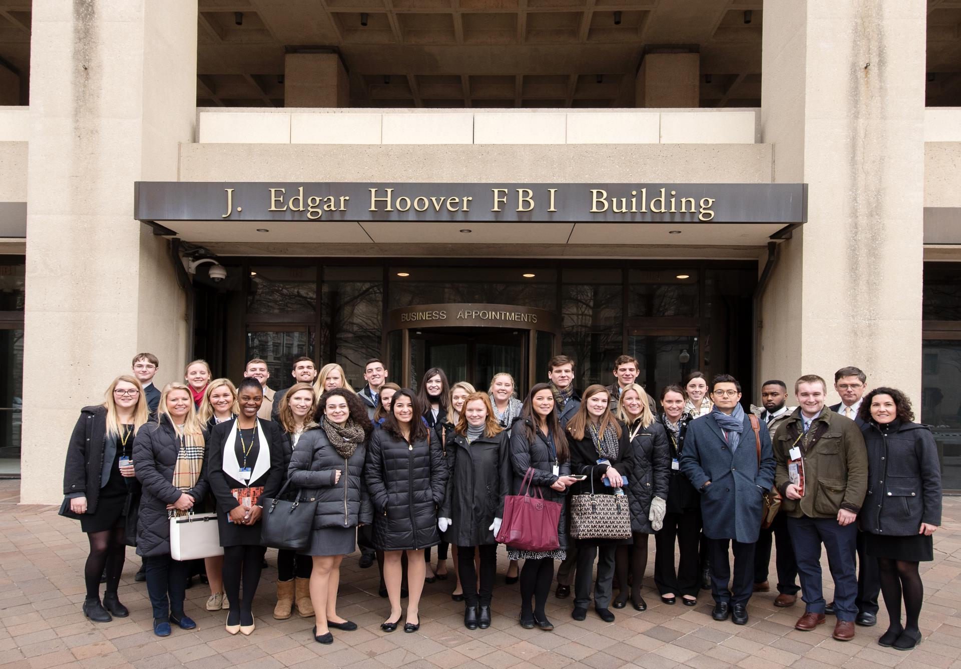 SLU Connect-DC January 2016 participants enjoyed a tour of FBI headquarters, where Paul Wood �85 works and graciously acted as host. (photo credit Jeff Mauritzen)