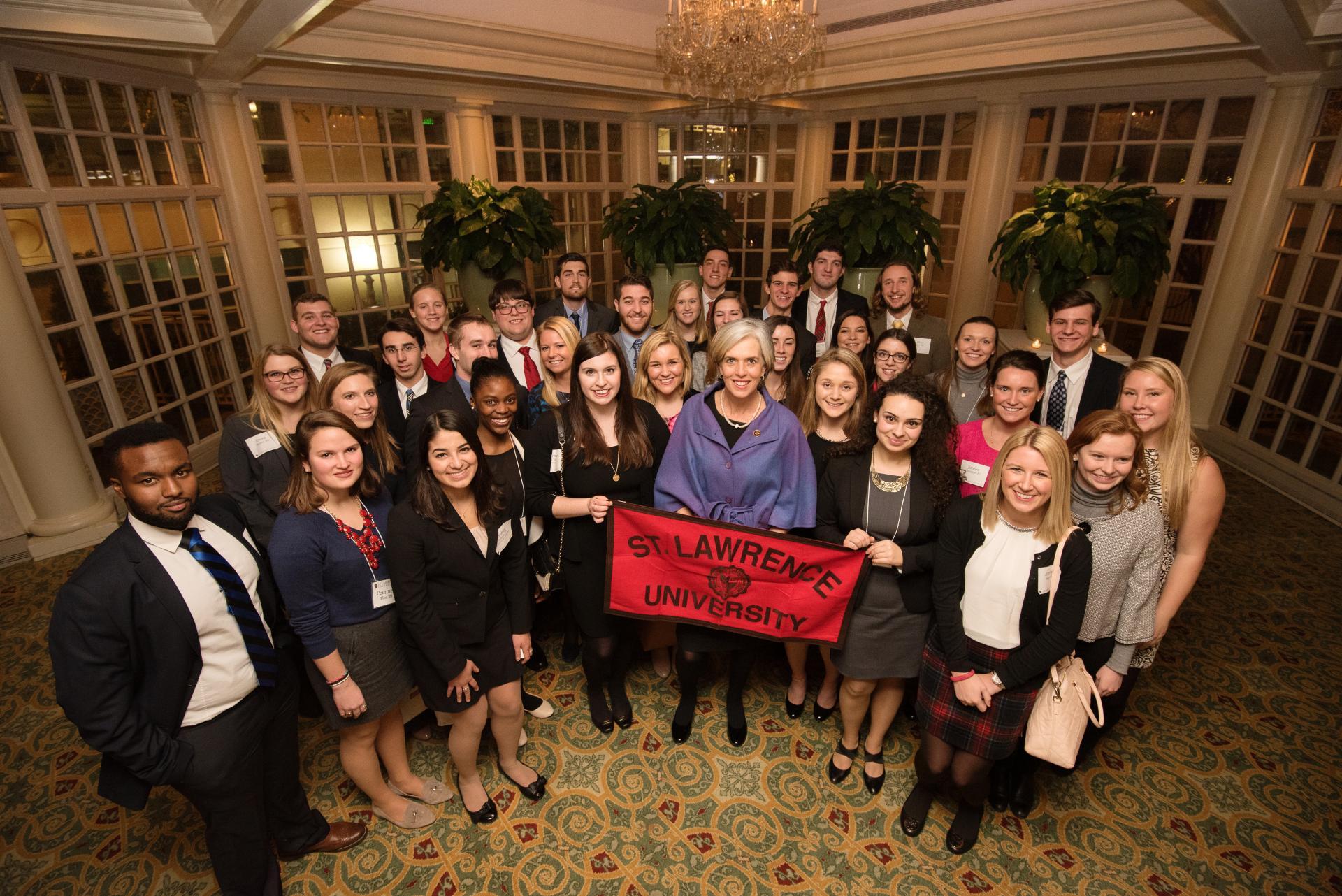 SLU Connect-DC participants met with Congresswoman Katherine Clark �85, center. (photo credit Jeff Mauritzen)