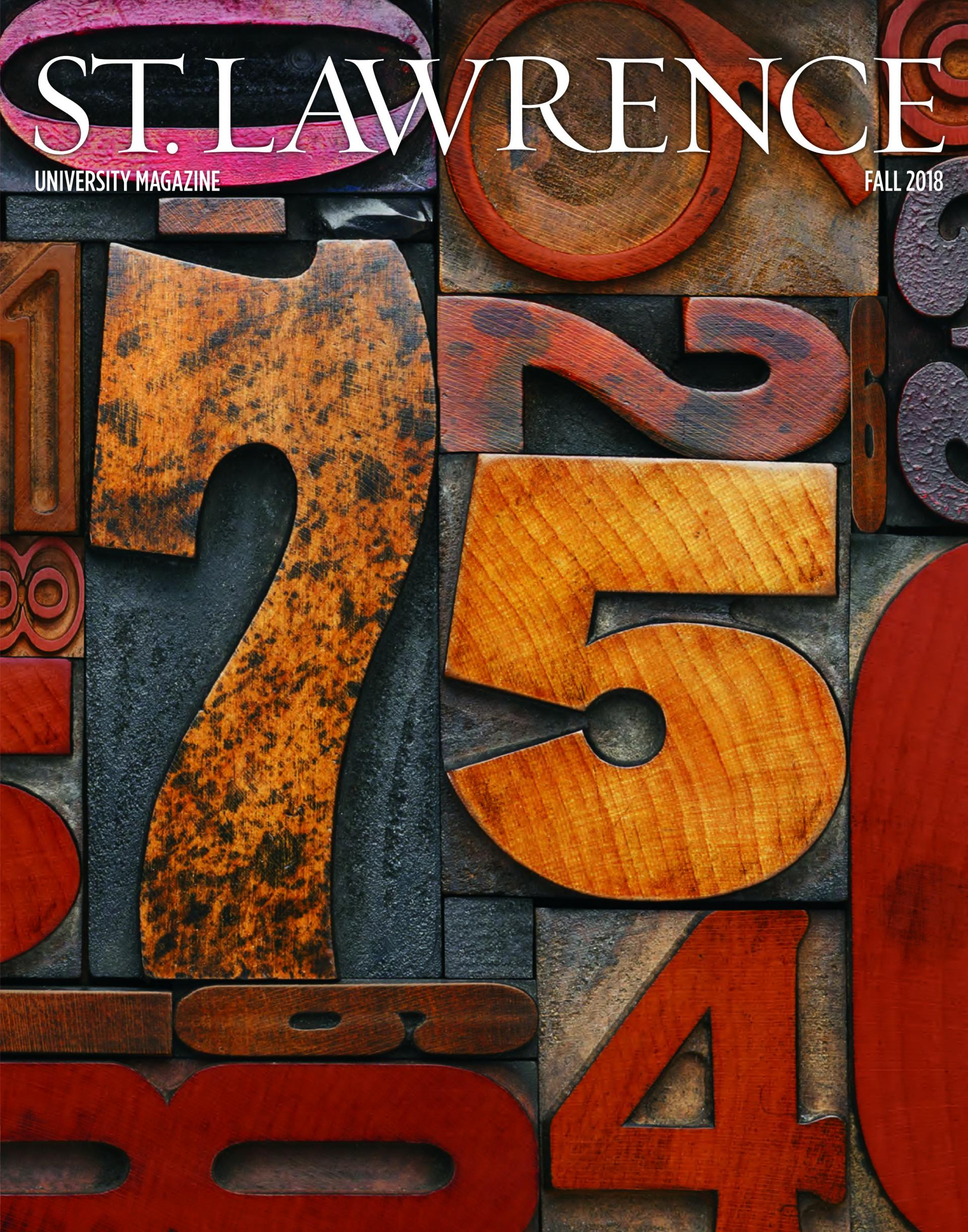 The print cover of the Fall 2018 St. Lawrence magazine