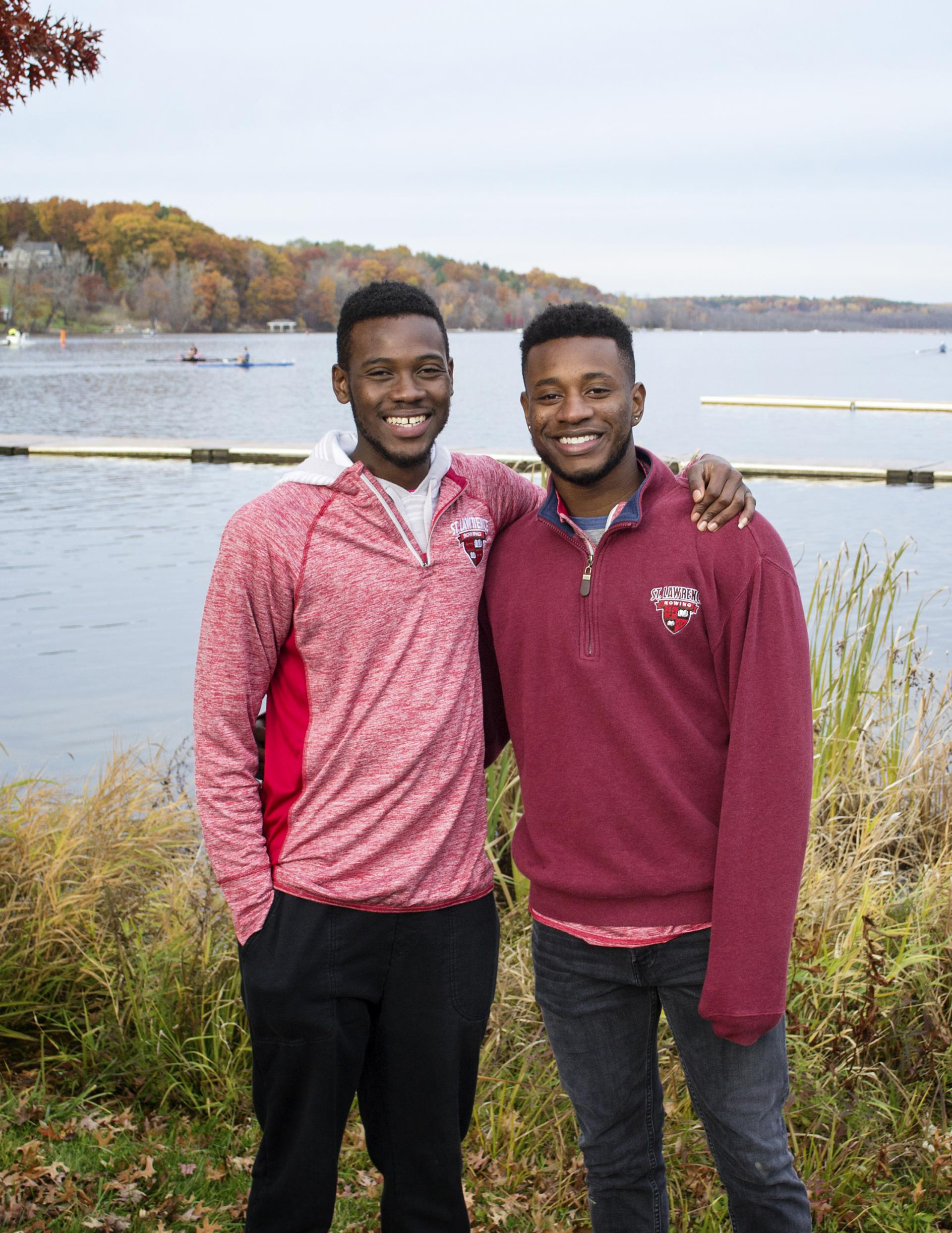 Bubaccar Fofana '18 (left) has been sharing his love of rowing by recruiting his HEOP friends to the men's crew team. After spending the summer learning how to swim, Muhammad Tunkara '18 (right) joined the squad, too.