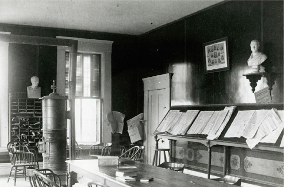 The original reading room in Richardson Hall, 1856.