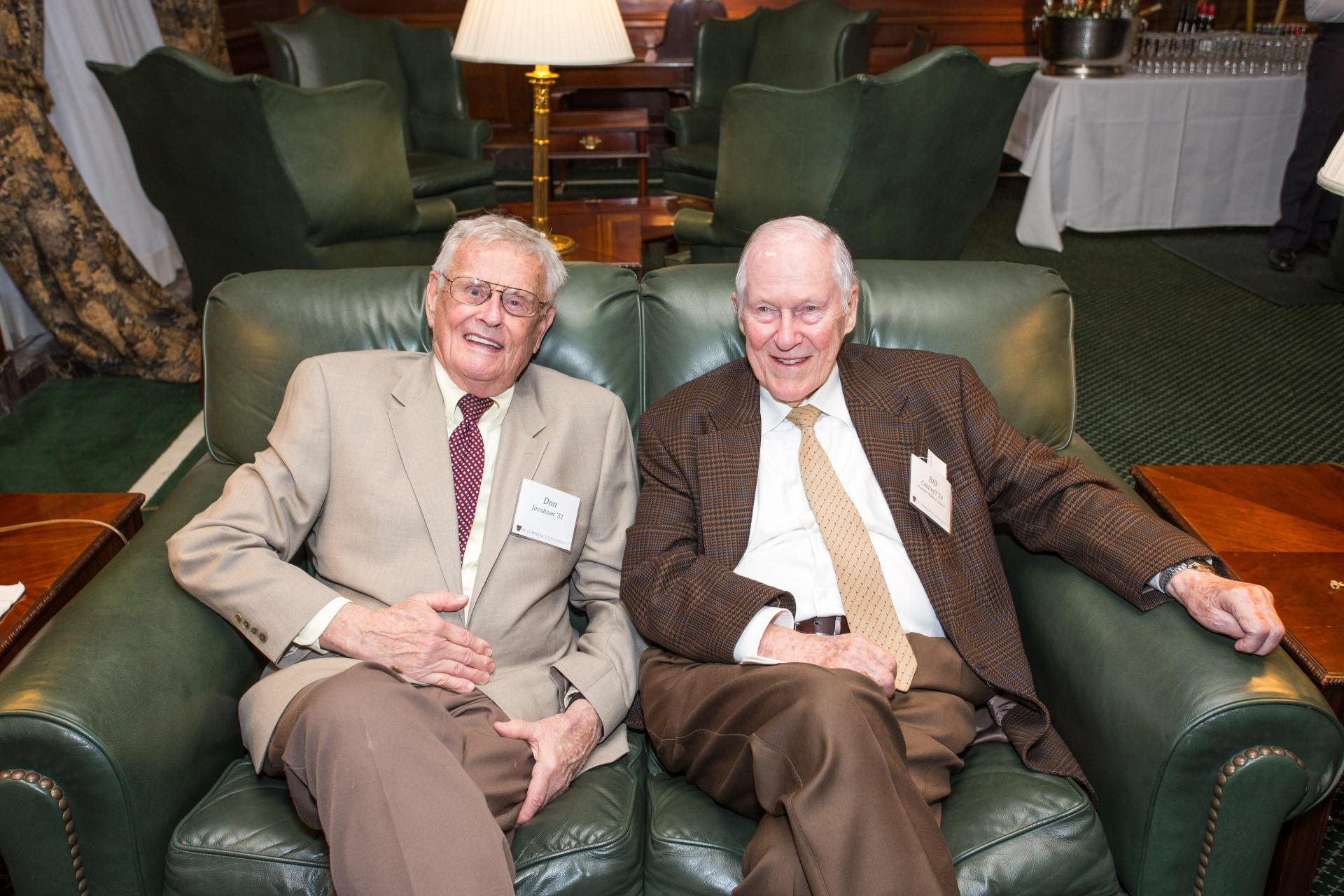 Don Jacobson �51 (left) comfortably enjoyed the company of his longtime friend Bill Caldwell �50.