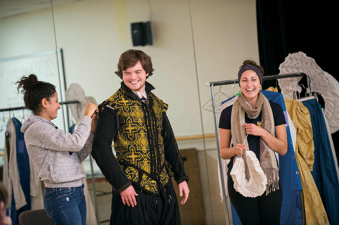 From left: Students Marisol Ramirez '18 and Devin Guilfoyle '18 work with ASC's Ally Farzetta during a costume workshop.