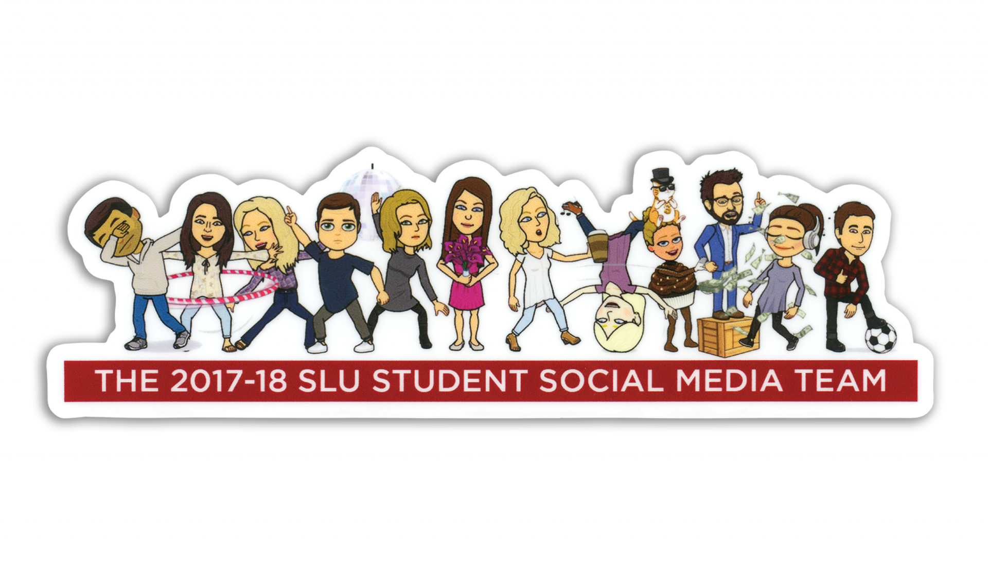 Stylized graphic of the members of the social media team at St. Lawrence