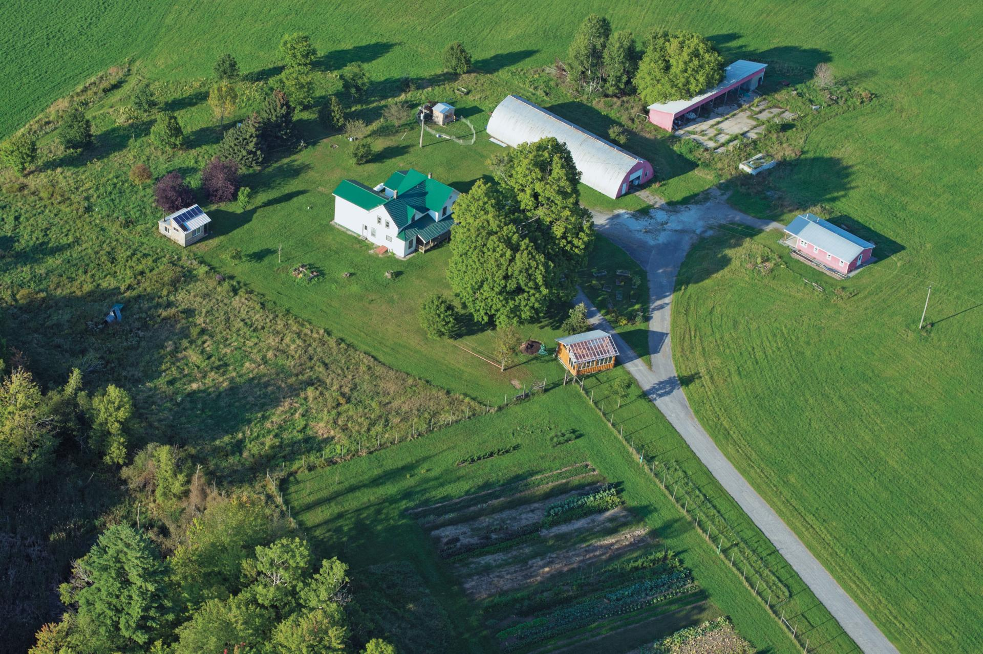 Aerial view of the St. Lawrence Sustainability Farm located on Rt. 68 in Canton, New York.