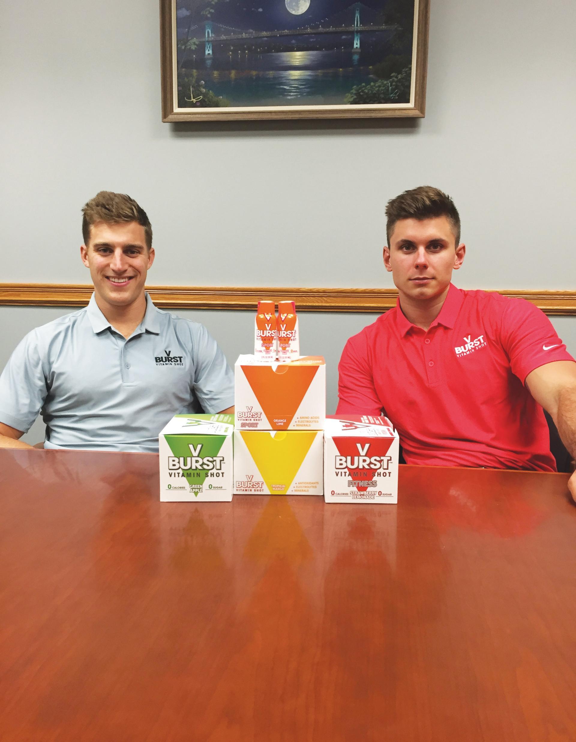 Justin Bruckel �15, left, and Chris Martin �15, creators of VBURST Vitamin Shots.