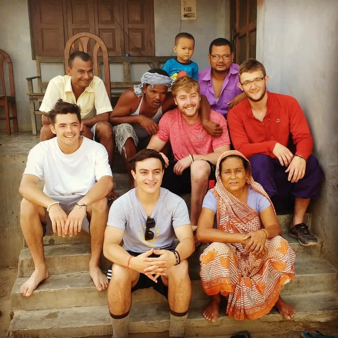 Derrick Robinson '18 of Cuba, NY, Liam Donnelly '18 of Shelburne, VT, George Knudsvig '18 of Rye, NY, and Josiah Henderson '18 of Brunswick, ME visited the school library in Nepal in June 2016 (Photo courtesy of Josiah Henderson)
