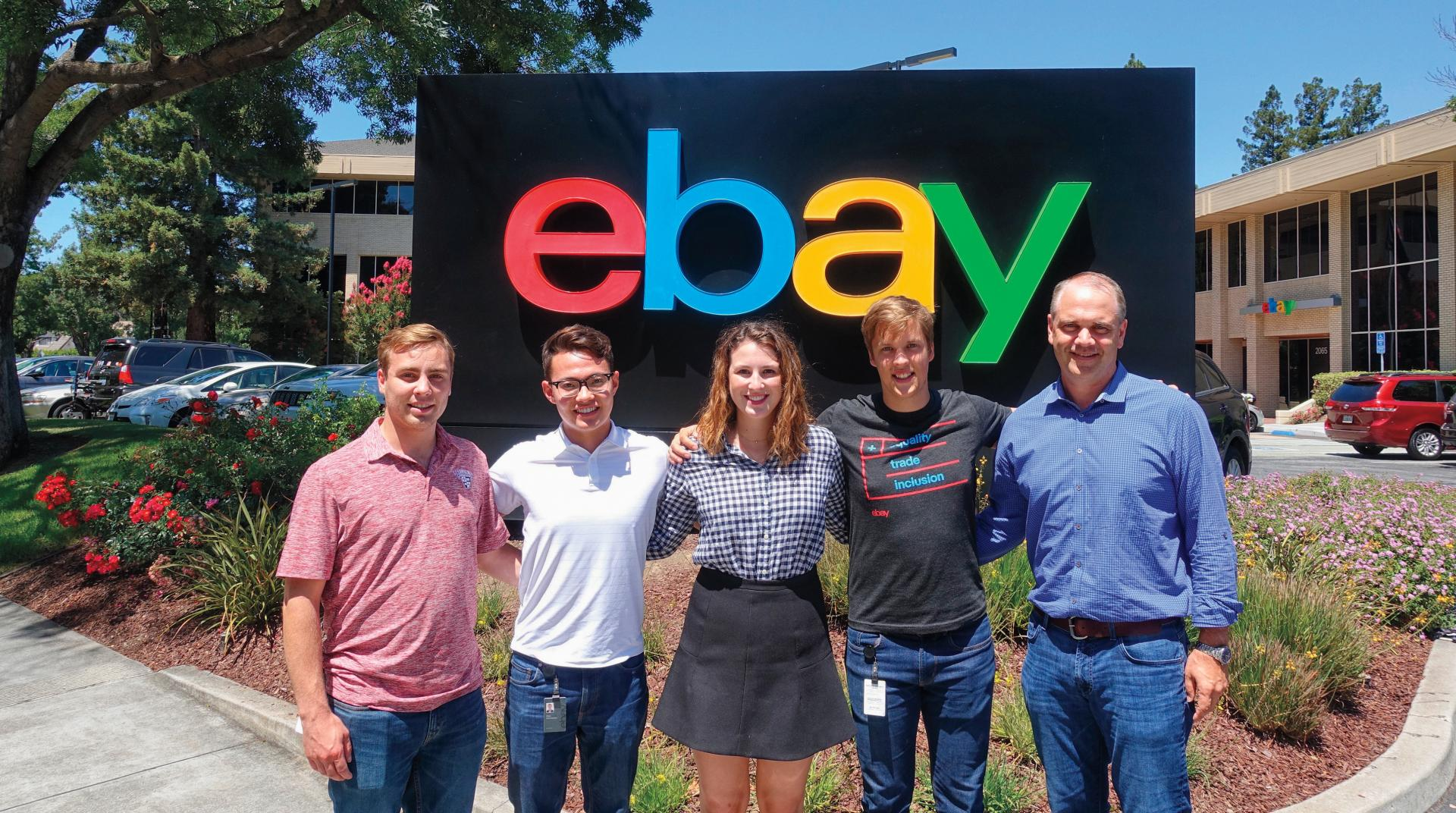 Left to right: Ben �Webb� Campbell �18, Paul Nakamura �18, Jennifer Scudder �18, Aleksandrs Ablazevics �19, and Andy Cring �92. (Photo Provided by eBay).