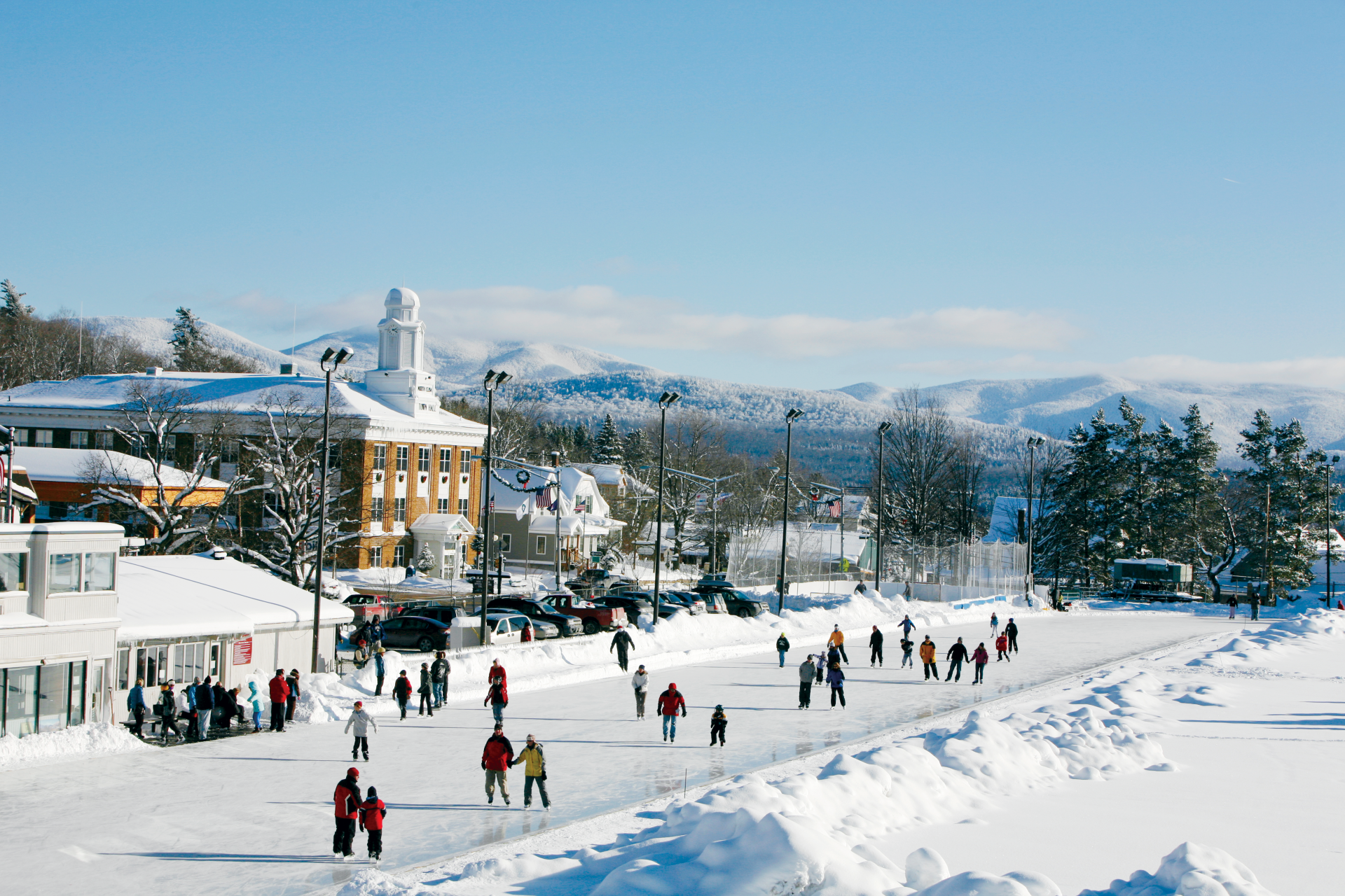 Residents and visitors at the ice skating oval in Lake Placid, New York. Photo by Nancie Battaglia.