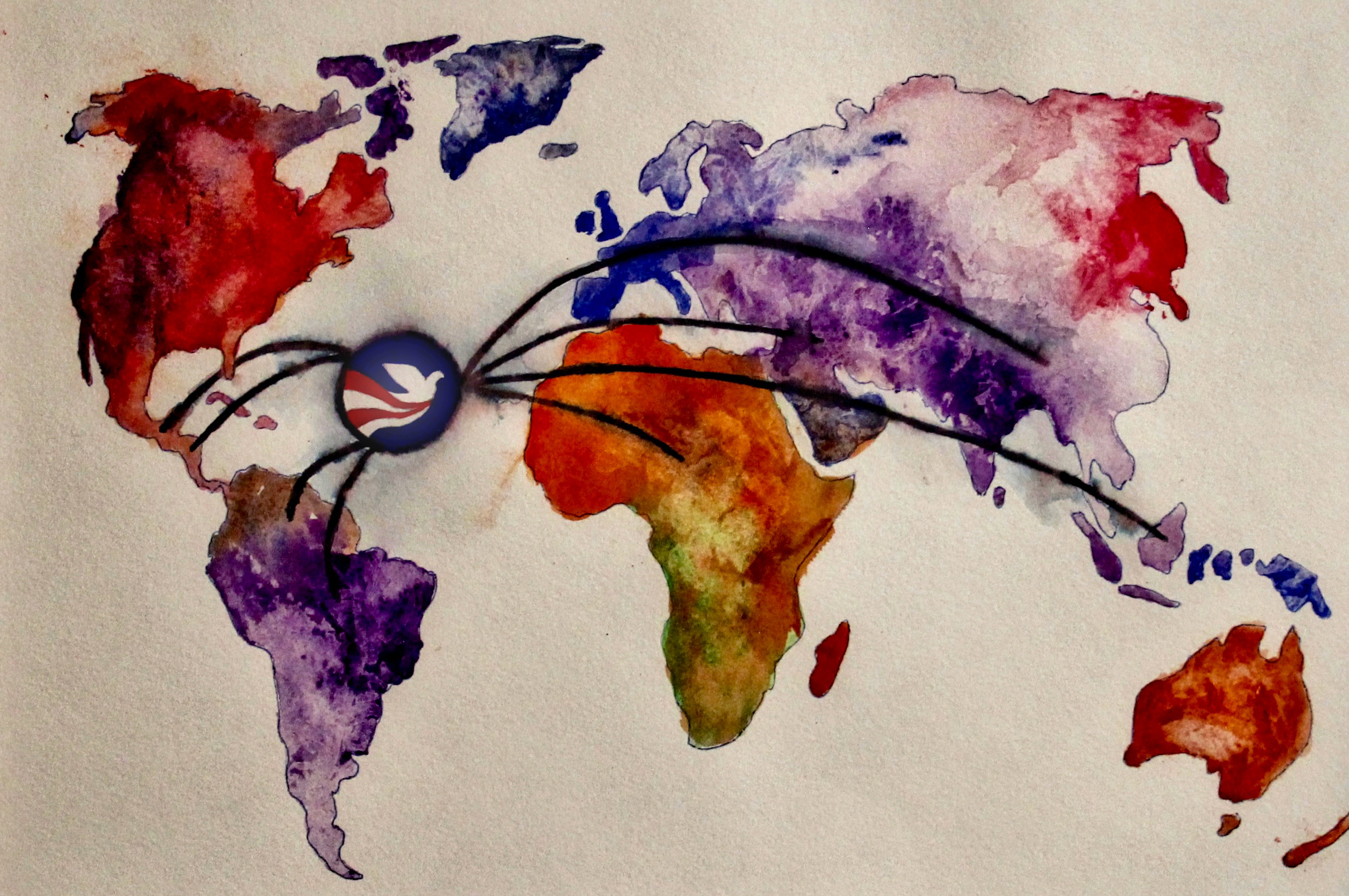 A map of Earth depicted in watercolor