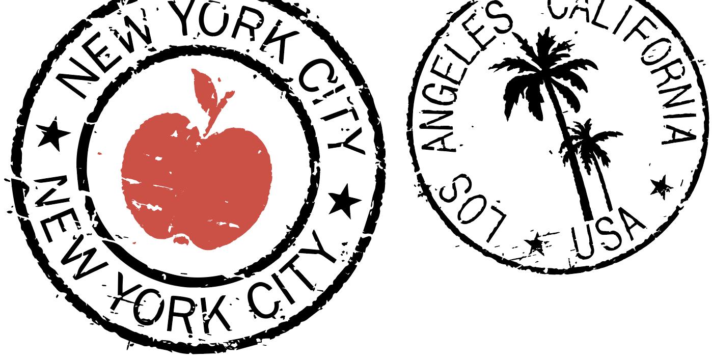 NYC and LA postage stamps