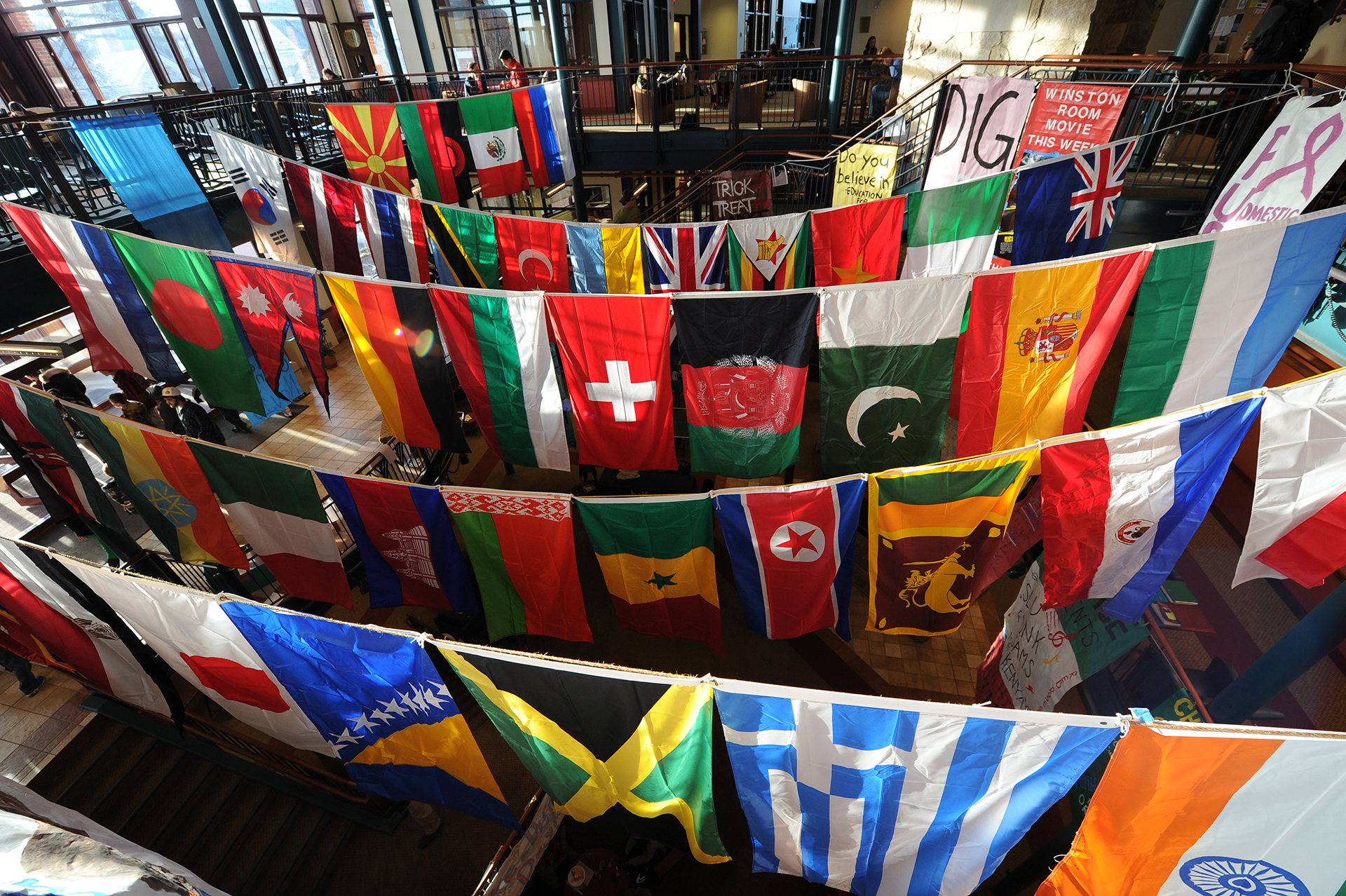 World flags hanging in the student center
