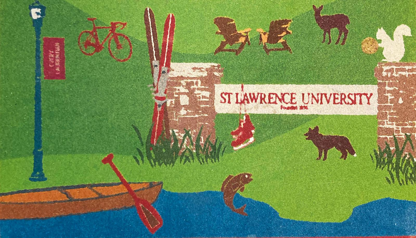 watercolor graphic of campus scene with animals and canoe
