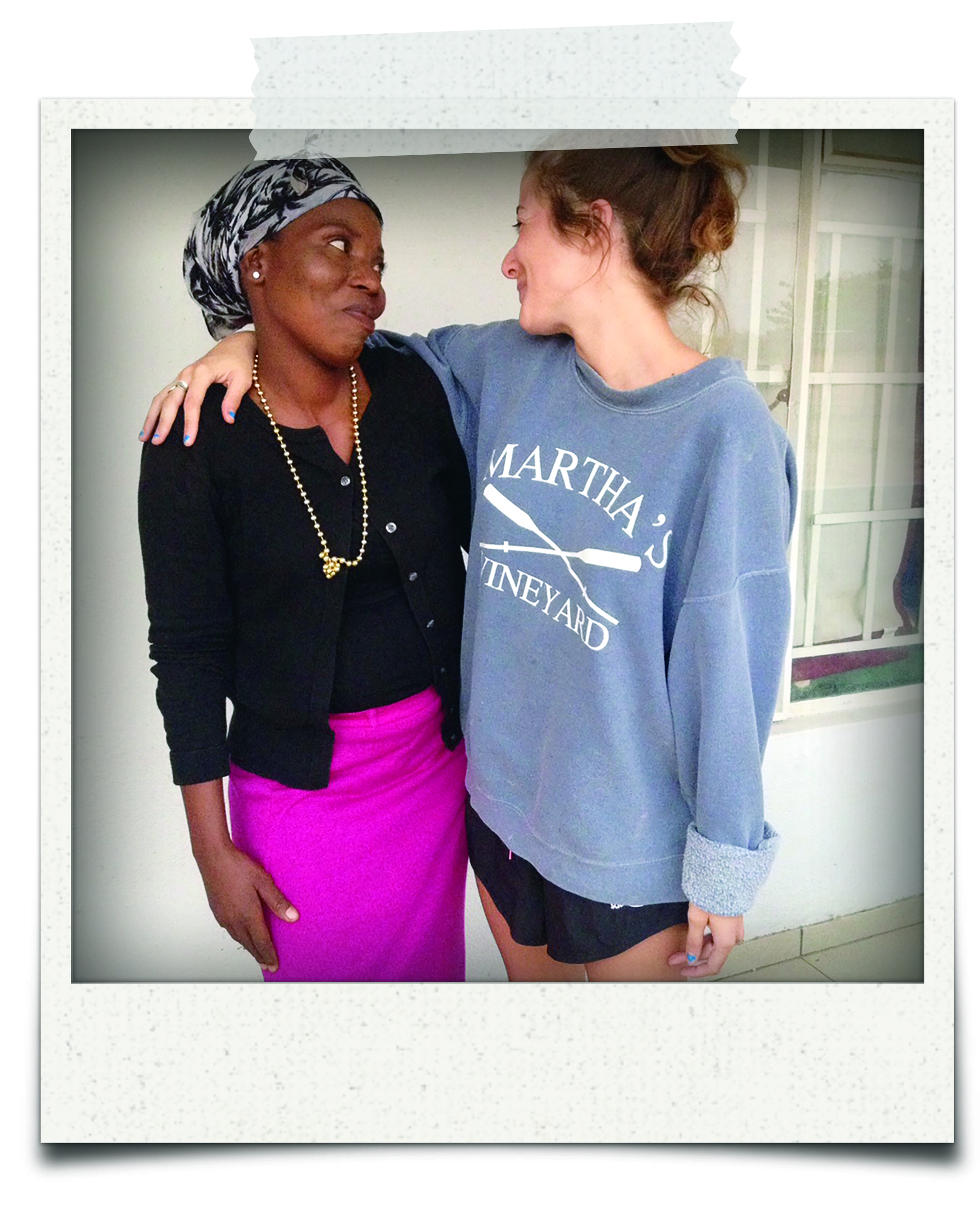 Goodwin befriended Nancy, the driver of her taxi, within the first week of her arrival in Botswana, forming a close friendship. The two partnered to carry out local public service announcements on HIV testing and other reproductive healthcare resources for villagers.