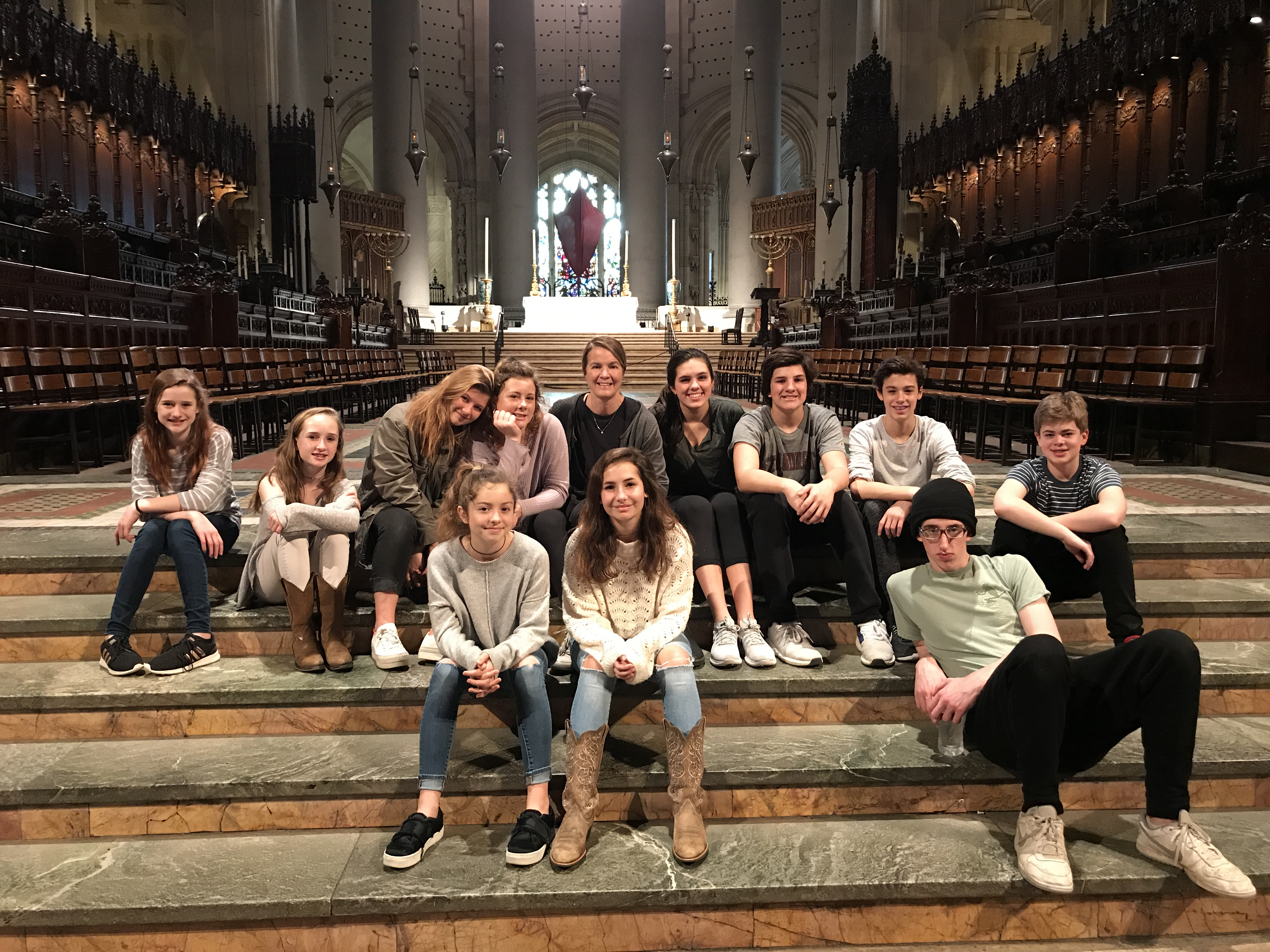 Janet Legro '85 with a youth group trip to New York City