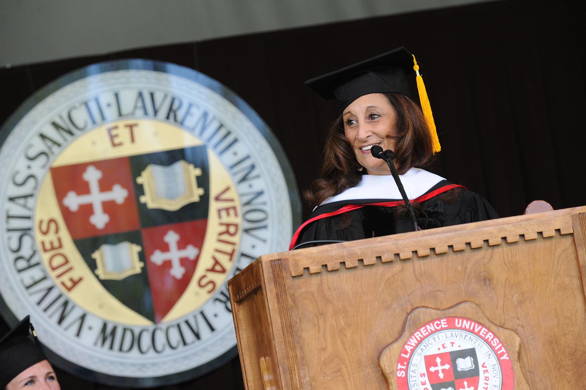 Susan Talve '74 speaking at 2014 Commencement
