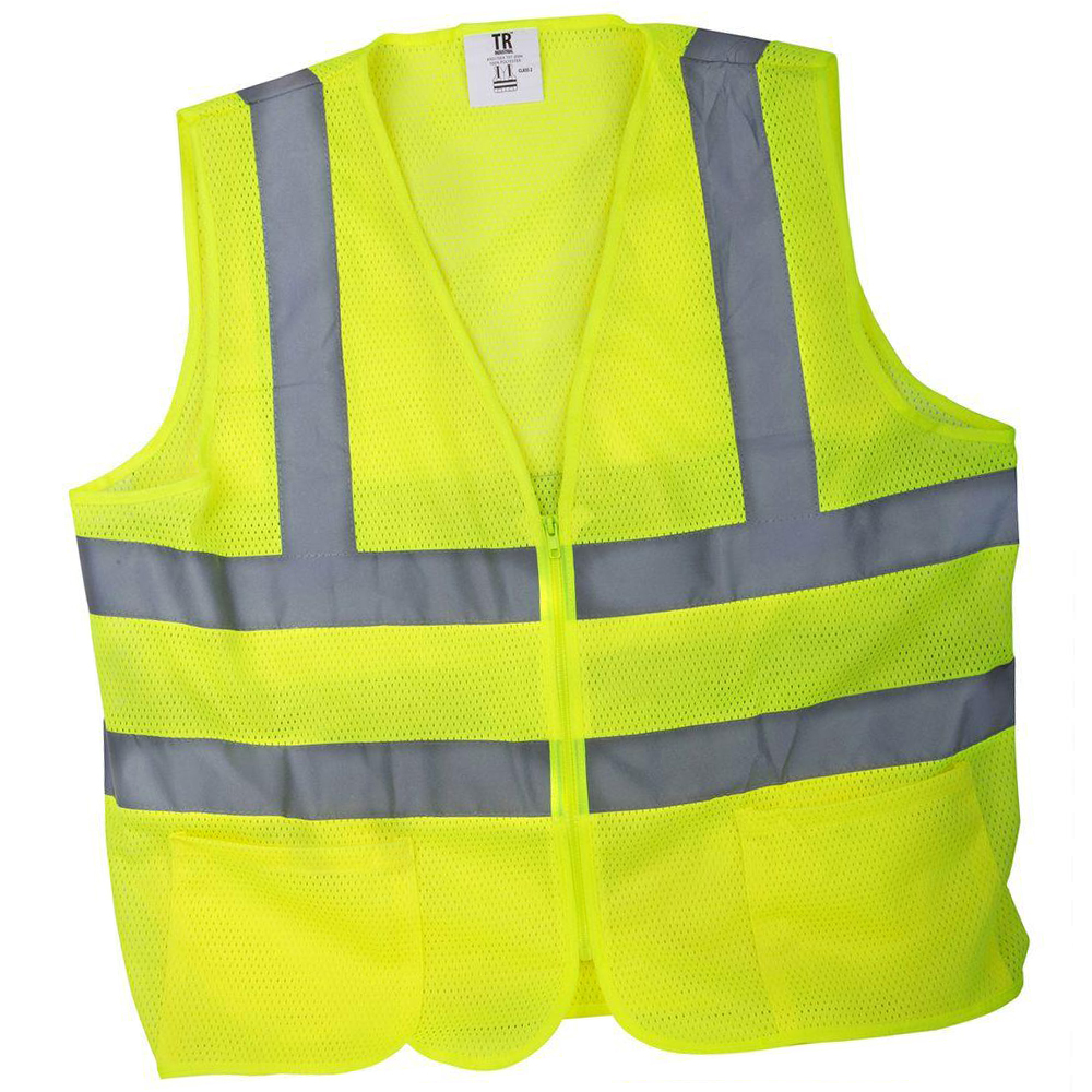 Yellow, high visibility vest
