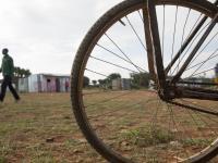 Bike wheel in the village