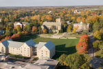 aerial shot of the campus quad
